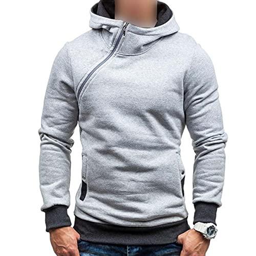 Hombres Otoño/Invierno Con Capucha Suéter Manga Casual Diagonal Cremallera Plus Fleece Sudadera Con Capucha Multicolor, gris, XXL