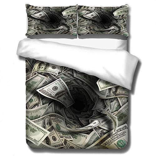 WTBDWOSH Ropa De Cama De 3 Piezas Billete, Dólar, Dinero 1 Funda Nórdica Impresa En 3D + 2 Fundas De Almohada, Cremallera Oculta, Fibra De Poliéster Súper Suave Y Cómoda 150 * 200 Cm Individual
