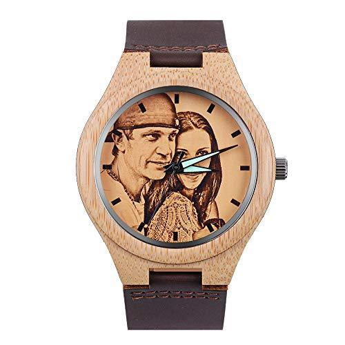 HOUSWEETY Personalisierte Bambus Uhren Foto Armbanduhr mit Foto und Text Gravur für Männer Frauen