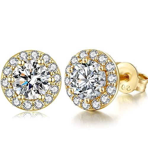Pendientes de oro mujer Pendientes Mujer Diamantes Aretes Plata de Ley Pendiente plata mujer en circonitas Pendientes de botón de diamante Pendientes Mujer Diamante oro