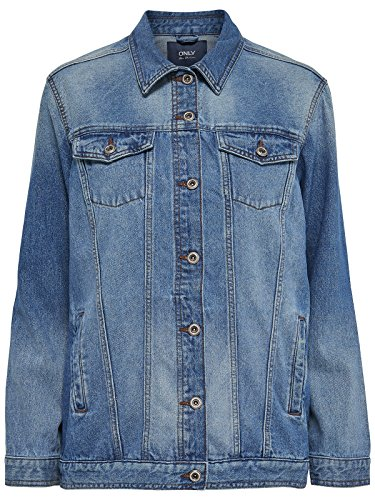 ONLY Damen onlEVA Oversized DNM Jacket AKM NOOS Jacke, Blau (Medium Blue Denim Medium Blue Denim), 38