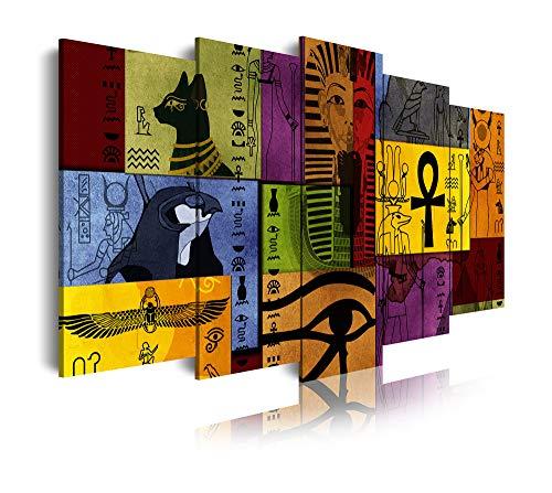 DekoArte 470 - Cuadros Modernos Impresión de Imagen Artística Digitalizada   Lienzo Decorativo para Tu Salón o Dormitorio   Estilo Abstacto Egipcio en Tonos Vivos   5 Piezas 150 x 80 cm