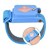 DAUERHAFT - Correas de muñeca antiestáticas, banda de descarga de correa de muñeca ajustada antiestática, sin cables, banda de cable de descarga ESD correa de mano azul