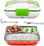 Electric Lunch Box Food Heater Portable Lunch Heater with Removable Container Food Grade Meal Warmer Lunch Box for Home Office Travel Use (110V US Plug, Green)…