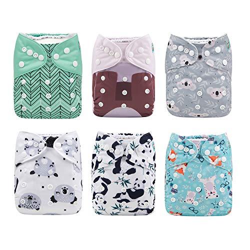 ALVABABY - Pañales de bolsillo para bebé, reutilizables, lavables, 6 piezas + 12 insertos 6DM16