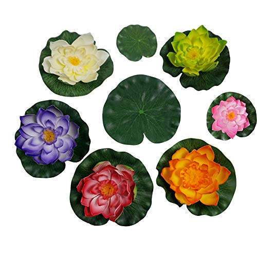 Summer Flower Artificial Floating Foam Lotus Flowers Realistic Vibrant Color Water Lily Pads Perfect for Home Garden Patio Pond Pool Aquarium Fish Tank Wedding Party Decor,Pack of 4(Mixcolors-3)
