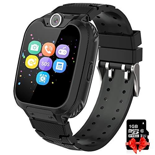 Bambini Game Smartwatch- Music Orologio Smart Phone con SIM Card Camera 7 tipi di giochi Touch Screen Learning Giocattoli Regali di Ragazzi e Ragazze Compleanno -Include scheda SD da 1 GB, Nero