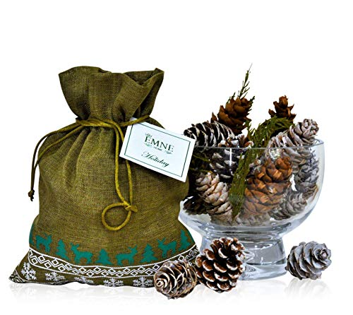 EMNE HOME Holiday Pine Cones Potpourri Bag   Beautiful Natural Cones with a Great Balsam & Pine Scent in a Faux Linen Bag   8 oz Bag  Hand Made in The USA