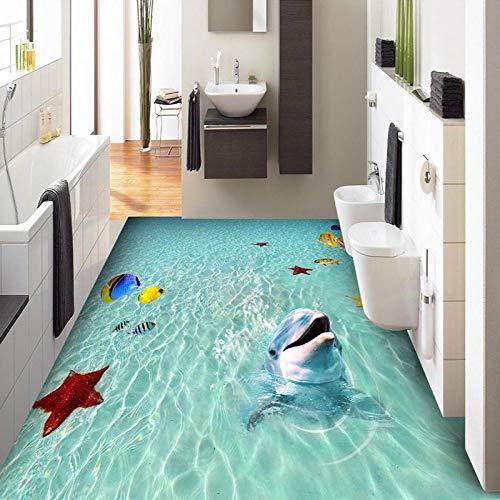 Pvc Wandtatoospersonalisierte Wandbild Tapete 3D Meer Strand Delphin 3D Bodenfarbe Fliesen Aufkleber Pvc Selbstklebend Wasserdicht Badezimmer-350 * 245Cm