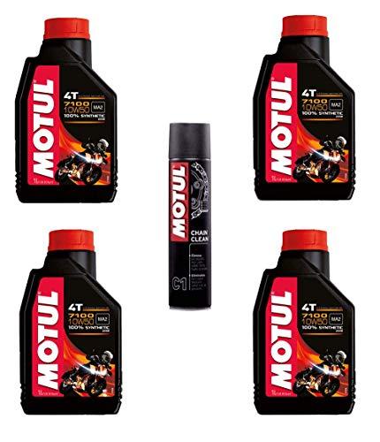Motul 7100 10w50 olio motore moto 4 tempi litri 4 + OMAGGIO MC Care C1 Chain Clean