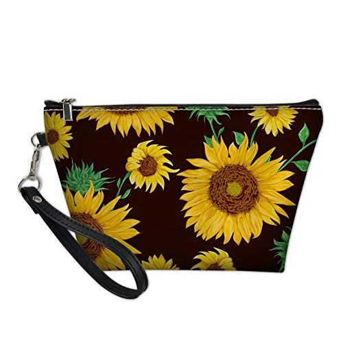 Alemiu Fashion Sunflower Design PU Leather Makeup Bag for Women Small Travel Cosmetic Beauty Bag Waterproof Lightweight Handbag Zipper Purse