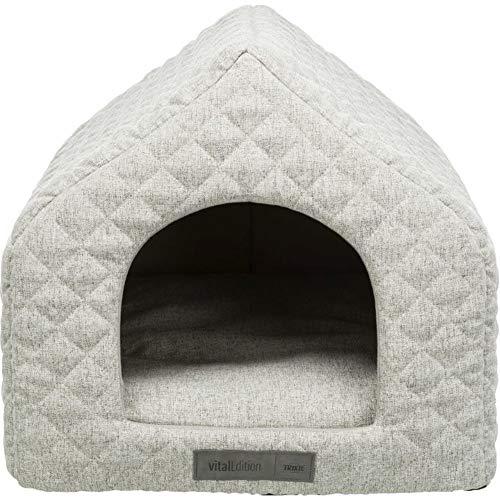 Trixie Noah Cave Cama para mascotas – Cueva de acurrucamiento Igloo – Gris claro – Cachorros, gatos, gatitos, perros pequeños – Casa acogedora y suave para mascotas