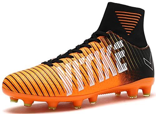 VITIKE Boys Turf Shoes Indoor Football/Soccer Baseball/Softball Cleats Orange/Black, Little Kid 3