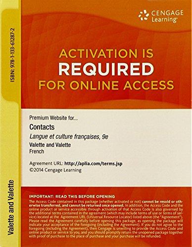 Premium Web Site, 4 terms (24 months) Printed Access Card for Valette/Valette's Contacts: Langue et culture françaises,