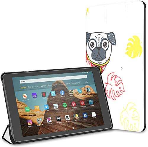 Case for All-New Amazon Fire Hd 10 Tablet (7th and 9th Generation,2017/2019 Release),Slim Folding Stand Cover with Auto Wake/Sleep for 10.1 Inch Tablet, Pug Wearing Red Hawaiian Shirt