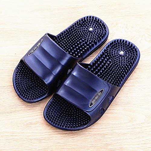 Zapatillas Par de zapatillas de masaje masculino Versión Modelos de baño ducha zapatos punto de acupuntura reflexología podal magnética baño de verano cubierta de Playa ( Color : A , Size : 41 )