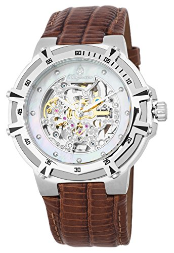 Burgmeister Herren Skeleton Automatik Uhr mit Leder Armband BM235-105