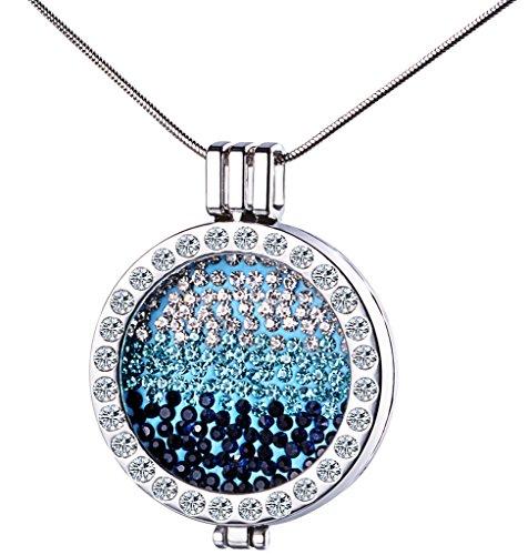Yumilok Silberfarben Liegierung Kristall Auswechselbare Münze Coin Anhänger Medaillon Halskette Pullover Kette mit Anhänger für Damen Mädchen
