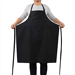 ROTANET Kitchen Bib Apron - Adjustable Cooking Aprons for Women Men Chef (Black)