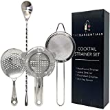 TheBarsentials Cocktail Strainer Set Stainless Steel Bar Tool with Stirring Spoon - Hawthorne Strainer, Julep Strainer, Fine-Mesh Strainer / Sifter
