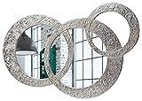Pintdecor, Circles - Pequeño Espejo, MDF/Cristal, Plateado, 74 x 50 cm