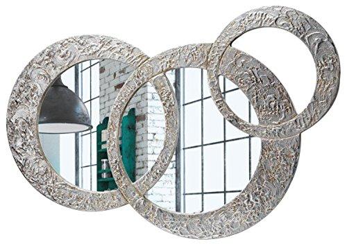 Pintdecor Specchio Circles Piccola Specchiera sagomata, legno composito, Argento, Oro, 74 x 50 cm, Made in Italy