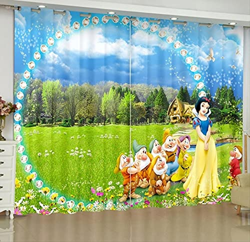 lubenwei Cortinas Opacas de Princesa Blancanieves, Cortinas de Ventana con impresión Digital de Dibujos Animados para Dormitorio, Sala de Estar 200(H) x130(W) Cmx2 Paneles/Set (B-2326)