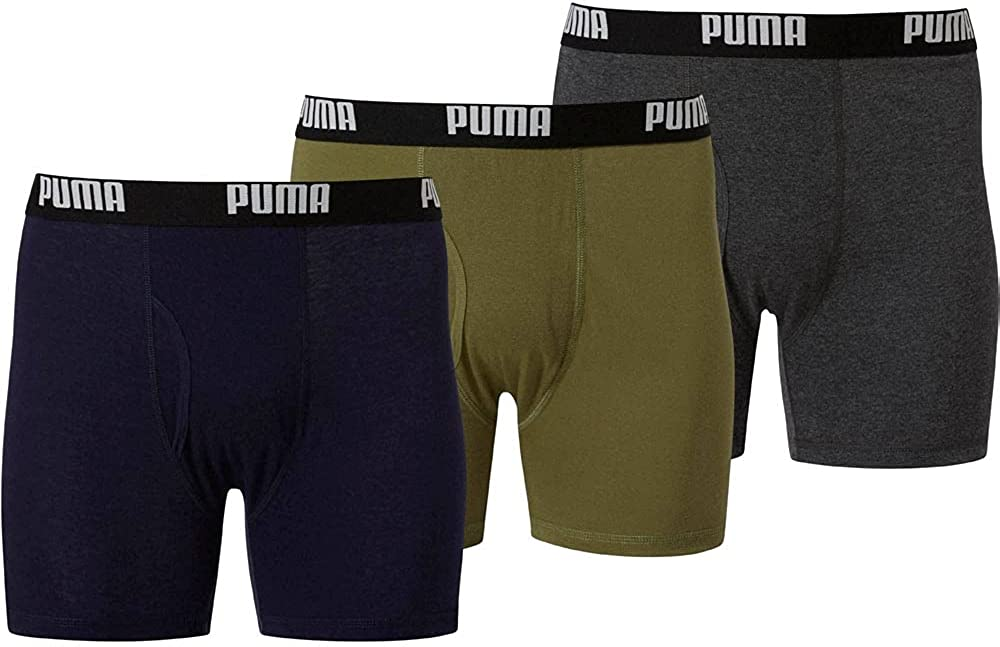Puma Mens Fashion Volume Cotton Boxer Briefs Moisture Wicking - Green