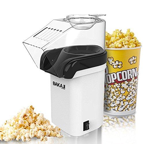 Bakaji Macchina per Pop Corn Elettrica ad Aria Calda Senza Olio Professionale Potenza 1200W con Coperchio a Rabbocco per Feste Party Cinema Bambini Dimensioni 18 x 26,5 x 11,5 cm