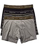 Kenneth Cole New York Men's Boxer Brief Set Basic 3 Pack, Black/Madison Stripe/Light Grey Heather, L