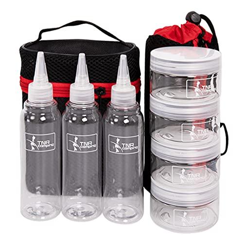 chiwanji Tarros de Especias Portátiles para Acampar, Juego de 7 Botellas de Condimentos para Barbacoa Al Aire Libre