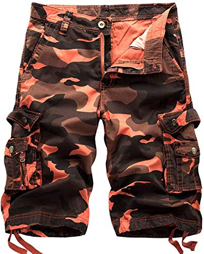 chouyatou Men's Active Normal Waist Loose Multi-Pocket Versatile Twill Cargo Shorts (36, Camo-Orange)