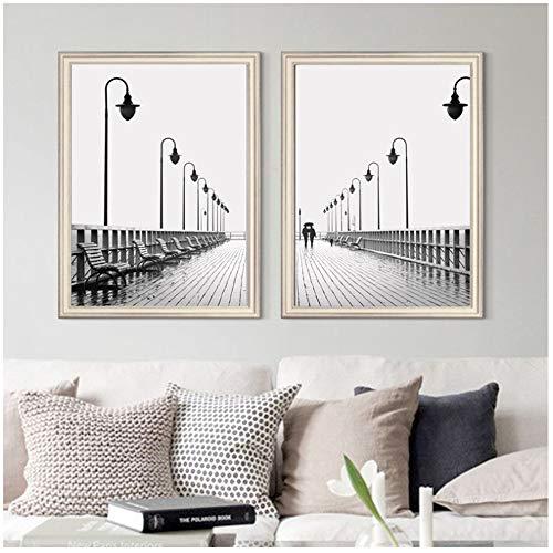 ZHANGSHAIFFBH Minimalistische Straat Lamp Canvas Schilderij Poster Zwart en Wit Muur Art Mode Fotografie Posters en Prints Modern Home Decor-50x70cm Geen Frame