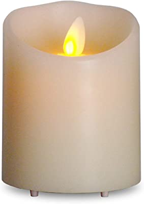 Rechargeable Moving Wick Real Wax Pillar Candle with Timer USB Charger for Home Decor, 4 inch