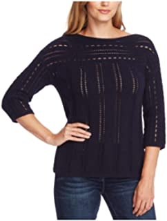 Vince Camuto Boatneck Pointelle Sweater, Size Large - Blue