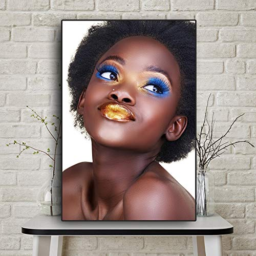KWzEQ Arte Africano Mujer escandinava Cartel Pintura al óleo sobre Lienzo,Pintura sin Marco,45x67cm