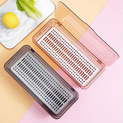 Bandeja para cubiertos, caja de almacenamiento para cubiertos Cajón organizador de cubiertos con tapa para cocina Estante para cubiertos a prueba de polvo para utensilios (gris)