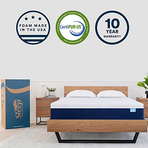 Sleep Innovations Shiloh 12-inch Memory Foam Mattress Bed in a Box, Made in The USA, 10-Year Warranty, Full, White