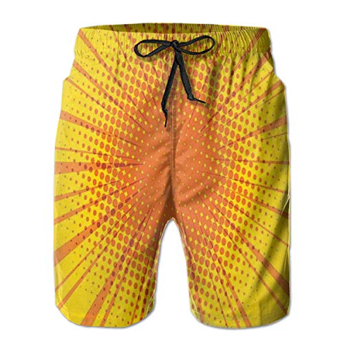 Swimming Shorts Funny Printed,Sun Burst with Halftone Effect Comic Book Style and Pop Art Design,Quick Dry Beach Board Trunks with Mesh Lining,Large