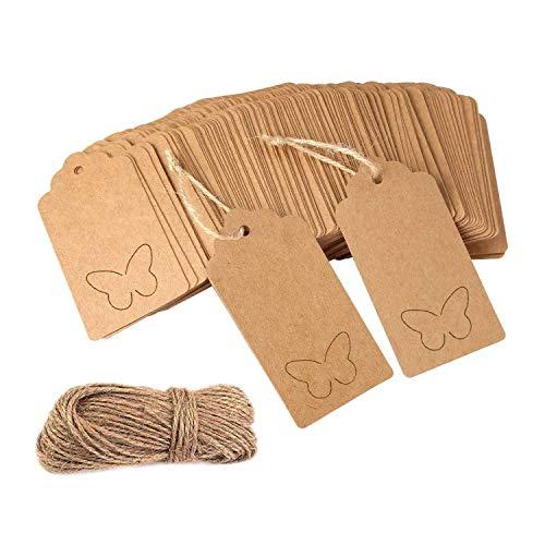 Etiquetas regalo, 100 etiquetas papel Kraft Craft