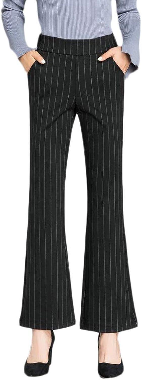 Esast Women Casual High Waist Wide Leg Pants Slacks Stripes Suit Pants