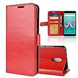 XMTN Wiko Lenny 5 5.7' Custodia,Premio PU Custodia in Pelle con Wallet Case Cover per Wiko Lenny 5 Smartphone (Rosso)