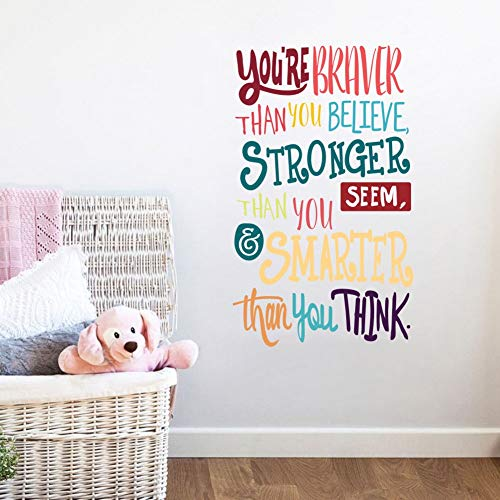 Colorful Inspirational Lettering Quote Wall DecalYou're Braver Than You BelieveStronger Than You SeemSmarter Than You Think Positive Quote Sticker for Classroom Kids Decoration