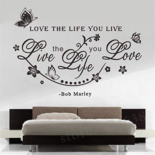 Bob Love English Sentence Wall Decals Quotes Love The Life You Live For Home Room Extraíble Vine Wall Sticker Decal Decoration30 * 57Cm