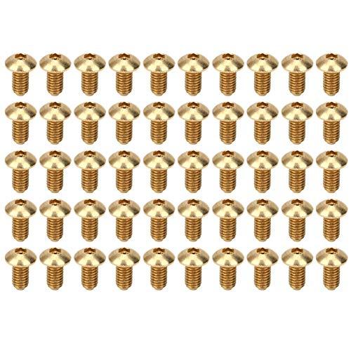 50 Uds tornillos hexagonales de cabeza media redonda accesorios de hardware de cobre puro sujetadores suministros industriales tornillos de cobre(M4 * 8 milímetro)