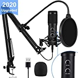 【2020 Upgraded】 USB Condenser Microphone for Computer, Great for Gaming, Podcast, LiveStreaming, YouTube Recording, Karaoke on Computer, Plug & Play, with Adjustable Metal Arm Stand, Ideal for Gift