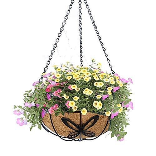 YIREAUD - Cestino da appendere in metallo con rivestimento in fibra di cocco, 30,5 cm, rotondo, con catena, decorazione per portico, vasi da fiori per interni ed esterni