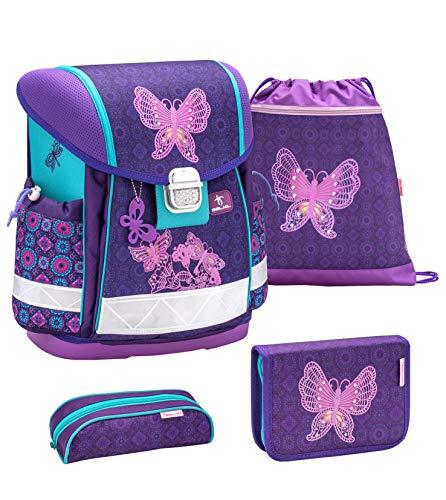 Belmil Schulranzen Set 4 - teilig ergonomischer Schulranzen Mädchen 1. klasse 2. klasse 3. klasse - Super Leicht 860-950 g/Grundschule/Schmetterling lila, Purple (403-13 Colorful)