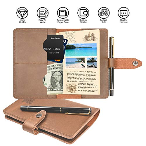 "Leather Journal Cover for Field Notes,Vintage Handmade Leather field notes for 3.5"" x 5.5"", Field Note Pen Included, Gift for Men Women"