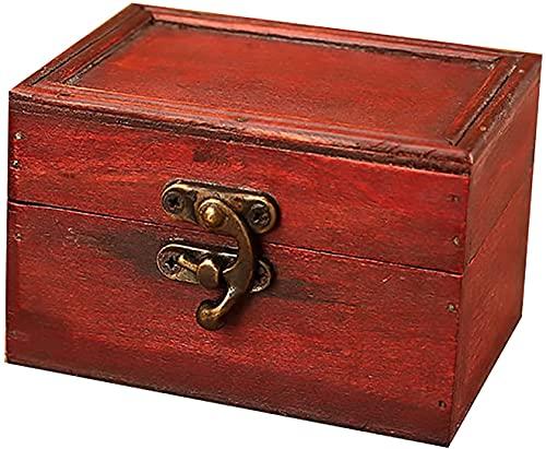 X&Z-XAOY Caja De Joyería Portátil,Mini Cajas De Cosmética De Cuero De Madera,Caja De Caramelo De Almacenamiento De Joyas,Herramientas De Organización Retro, (4.1 7X3.03X2.6 En) (Color : A)